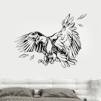 Viny Wall Decal Abstract American Bird Bald Eagle Feathers Stickers Unique Gift (1902ig)