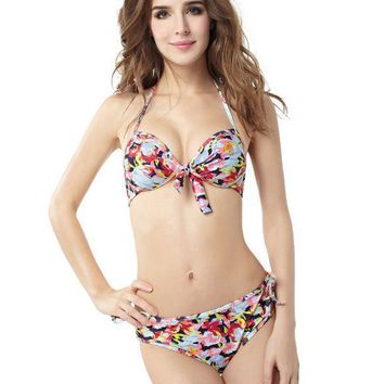 PEAPDQ7 Vintage Flowers Print Two Piece Bandage Swimwear Bikini Bathing Suits BK15056