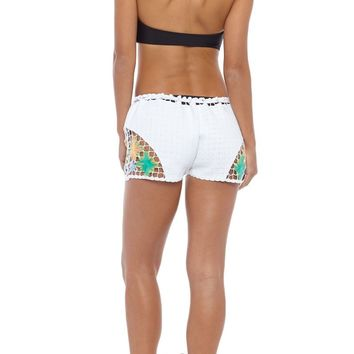 High Tide Rainbow Crochet Shorts - White