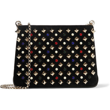 Christian Louboutin - Triloubi small embellished suede and leather shoulder bag
