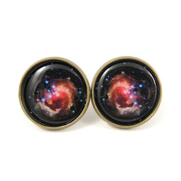 Galaxy Earrings - Round Space Studs - Large Black Pink Jewelry - Free Worldwide Shipping