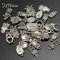 KiWarm Fashion Mini 30Pcs Mixed Tibetan Silver Owl Charms Pendant Bead Necklace Jewelry Making Craft DIY Hanging Ornament