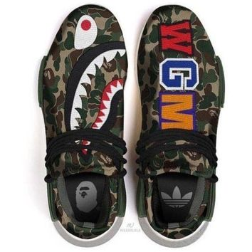 PEAPNO ADIDAS Bape Shark Camouflage Trending Fashion Camouflage Casual Sports Shoes G-AA-SDDS
