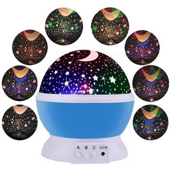LED Rotating Moon & Stars Projector / Baby Nursery Night Light & Emergency Lamp