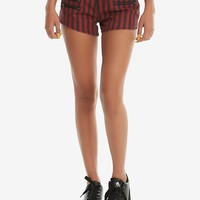 Blackheart Black & Red Striped Low Rise Shorts