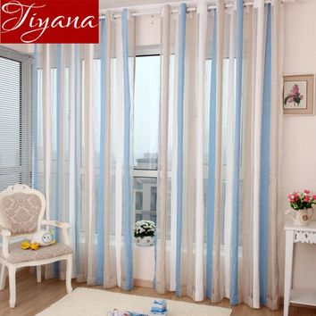Chenille Curtains Voile Modern Simple Vertical Striped Window Panel Yarn Kitchen Balcony Curtains Tulle Custom Made X200 #20