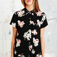 Minkpink Moonflower Short-Sleeve Shirt in Black - Urban Outfitters