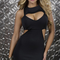 Black Cocktail Dress with Chest and Side Cutouts