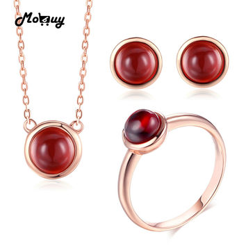 MoBuy 100% 925 Sterling Silver Jewelry Set Round Natural Gemstone Red Garnet Rose Gold Color S925 Fine Jewelry For Women V034ENR