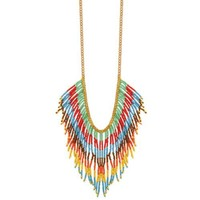 Zad Multicolor Bright Bead Fringe Necklace