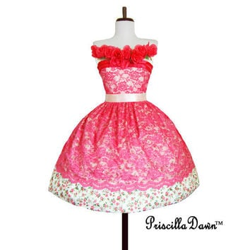 Limited Edition Lacey Birthday Roses Dress by priscilladawn