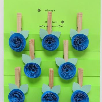 Blue rose clothespin magnets, 8 paper flower kitchen bag clips, office organization work order holder, photo display
