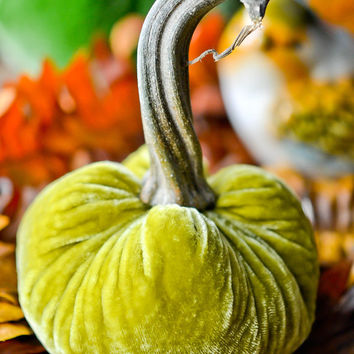 1 Small Tarragon Green Silk Velvet Pumpkin, Fall Decor, Table Centerpiece, Homemade Rustic Decoration