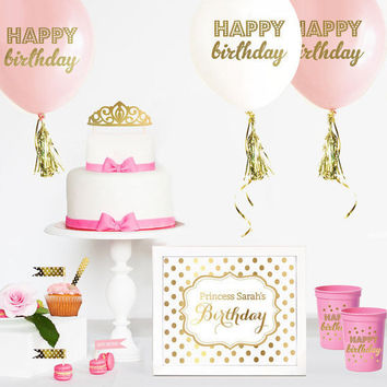 PRINCESS Cake Topper - Tiara Cake Topper - Crown Cake Topper - Princess Party Supplies - Pink and Gold Princess Cake Topper - Card - Invite