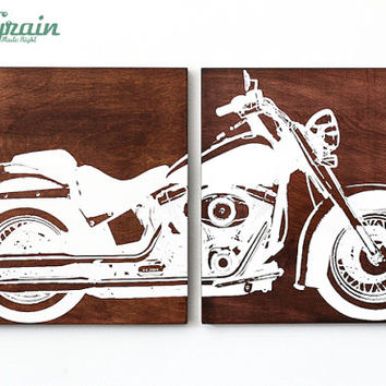 Motorcycle Wall Art - Harley Davidson Softail on Woodgrain For Him - Garage Art