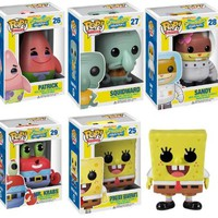 Funko POP Spongebob Vinyl Figures Set of Five: Spongebob, Squidward, Patrick Star, Sandy, Mr. Krabs