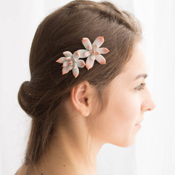Grey Pink Succulent Hair Pins Hairpin Polymer Clay Bobby Pins Hair Decoration Accessory Women Handmade Decoration Wedding Bridal Gift