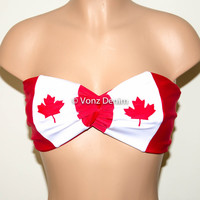 PADDED Canadian Flag Bandeau, Canadian Flag Swimwear Bikini Top, Twisted Top Bathing Suits, Spandex Bandeau Bikini