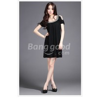 New Europe Ladies Noble U Neck Handmade Bead Short Sleeve Party Black Dress Free Shipping!  - US$19.99