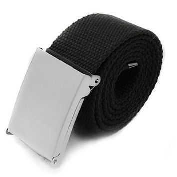 LMFLD1 Candy Colors Men Women Boys Plain Webbing Cotton Canvas Metal Buckle Belt Fashion Accessories