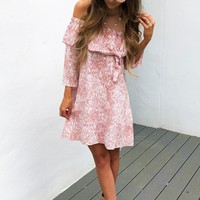 All About The Chase Dress: Blush/Ivory