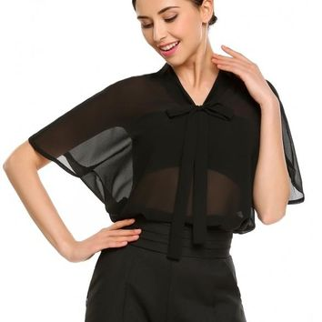 Black Bow Tie Bat-Wing Sleeve Solid Loose Fit Blouse