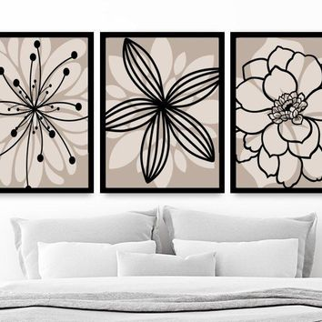 Beige Black Flower Wall Art, Black Beige Floral Bedroom Canvas or Prints, Black Beige Floral Bathroom Decor, Set of 3 Floral Home Decor