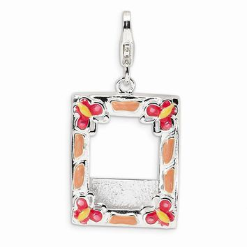 Sterling Silver 3-D Enameled Photo Frame w/Lobster Claw Clasp Charm
