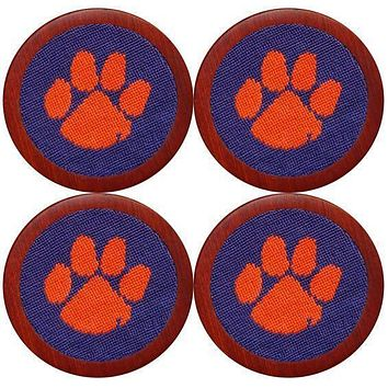 Clemson Needlepoint Coasters in Purple and Orange by Smathers & Branson
