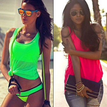 Fashion Women candy color Summer Vest shirts sleeveless Casual cotton Tank Tops