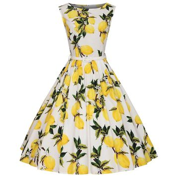 Vintage Women Summer Dresses 50s 60s Lemon Print Party Swing Dresses Midi Rockabilly Pinup vestido Plus Size