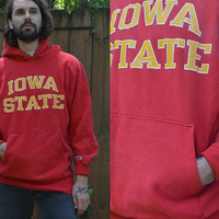 Vintage Reverse Weave Champion Iowa State Hawkeyes Red Cotton Hooded Sweatshirt XL