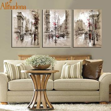ALMUDENA Home Decor Canvas Poster Abstract City Street Landscape Paintings Modern Wall Pictures 3 Pieces Wall Art No Frame
