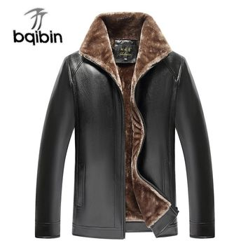 Leather Mens Casual Jacket With Fleece For Winter Warm Thick Long Sleeve Solid Windbreaker Parka Varsity Male Coat 6XL PU Fur