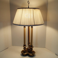 Bouillotte Table Lamp, Candelabra lamp, 3 candlestick brass lamp, center brass column Hollywood Regency Neoclassical, shade not included