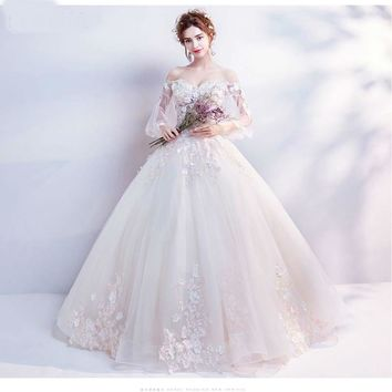 Wedding Dress Long Sleeve With Applique Sweetheart Off The Shoulder Wedding Dresses