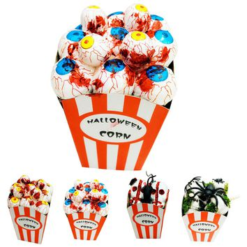 Halloween Decoration Props Horror Scary Theme Party Bar Supplies Simulation Scary Spider Mouse Bloody Foam Eyes Popcorn