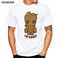 Guardians of the men t-shirt Anime baby pop  Summer funny I AM GROOT T Shirt Male Cool Tops Tees Home t-shirt