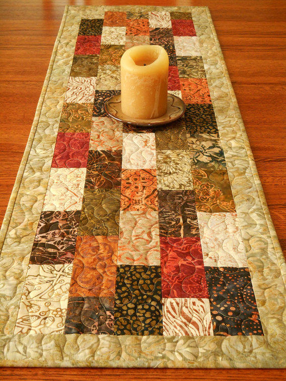 Quilted Batik Table Runner In Tonga Spice From Susiquilts