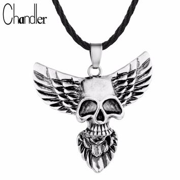 Chandler Brand Skull Head Eagle Wing Pendant Necklace Gothic Jewelry Men's Fashion Punk Accessaries Hiphop Maxi Classic Luxury