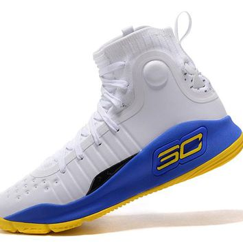 Best Deal Under Armour UA Men's SC30 Stephen Curry 4 White Blue Gold Sport Sneaker