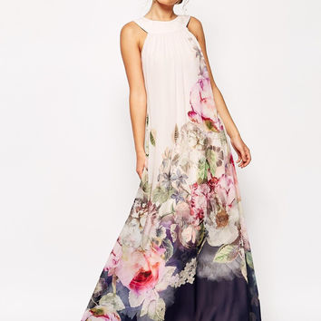 Print Ball Gown Floral Prom Dress One Piece Dress [4966035908]