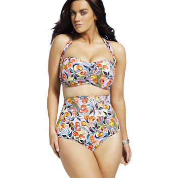 Cheery Print Ruched Top Plus Size Swimsuit LAVELIQ