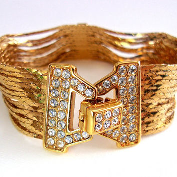 NOLAN MILLER Liquid Gold Chain Rhinestone Bracelet, Glamour Collection, Vintage
