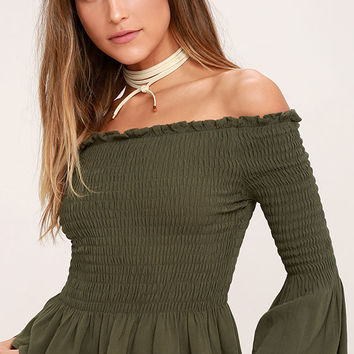 Sunny Side Olive Green Off-the-Shoulder Top