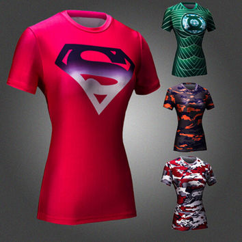 92ff0cdabd3 New Women Superman Armour Shirts Compression T Shirt Superhero Bodybuilding  Fitness Tights Under Tees Camiseta Feminina