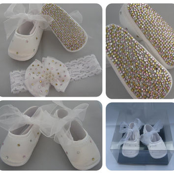 Stunning Baby girls ballet shoe pumps & headband Christening Baptism pink gold silver A class crystals diamante rhinestone 0-3m 3-6m 6-12m