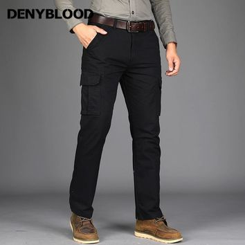 Denyblood Jeans Mens Cargo Pants Mutil Pockets Army Green Twill Pants Military Trousers Straight Fit Casual Pants for Men 8509