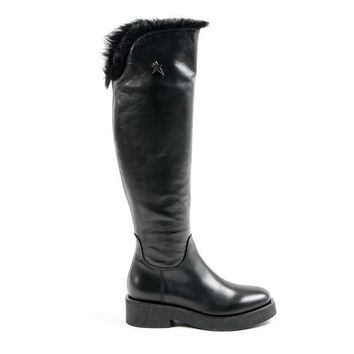 Andrew Charles SUZI High Boot Womens Black Knee High Leather Boots With Fur Trim