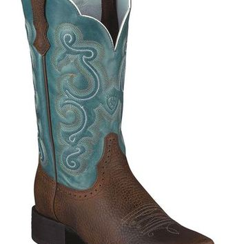 Ariat Quickdraw Blue Fancy Stitched Cowgirl Boots - Square Toe